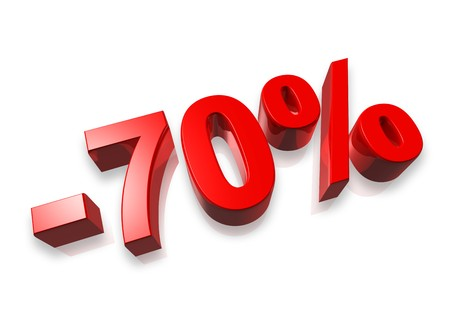 seventy percent 3D number isolated on white - 70% Stock Photo - 7072897