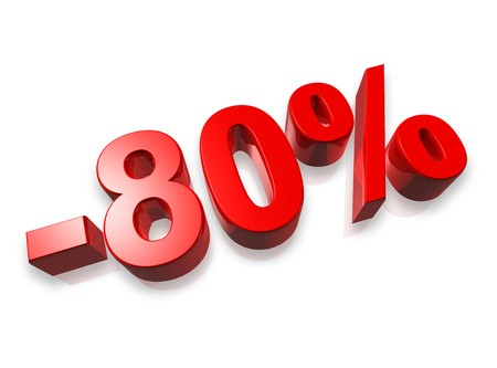80: eighty percent 3D number isolated on white - 80%