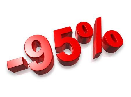95: numero cinque il novanta per cento 3D isolata on white - 95 %
