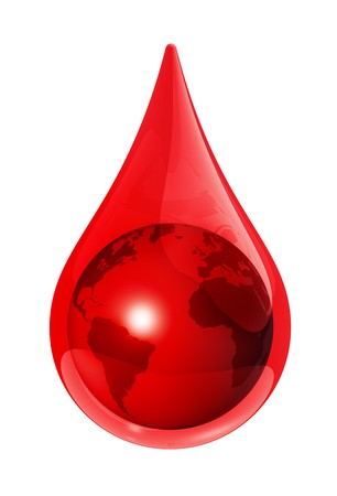 blood drops: Earth globe in a blood drop - 3D illustration