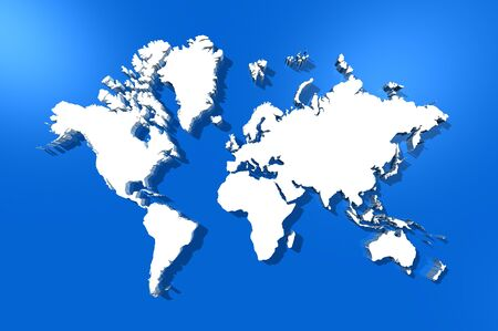 three dimensional white world map isolated on blue background