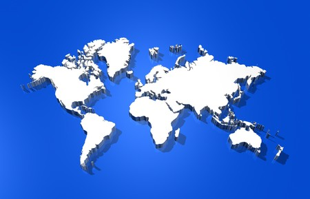 worldmap: three dimensional white world map isolated on blue background