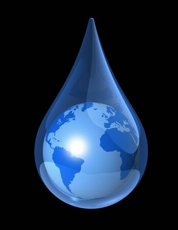 drop in: blue world globe map in a water drop. 3D ecology symbol Stock Photo