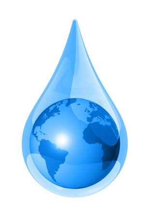 regentropfen: Globus-Weltkarte in einem Wassertropfen isolated on White. 3D �kologie-symbol