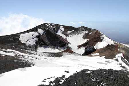 vulcanology: volcano mount Etna crater in Sicily, Italy Stock Photo