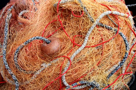 commercial fishing: commercial fishing net detailed macro picture