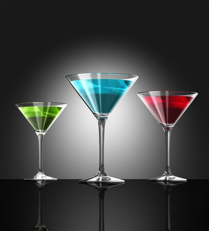 lounge bar: three transparent blue red and green cocktail glasses reflecting on bar surface. three dimensional illustration Stock Photo