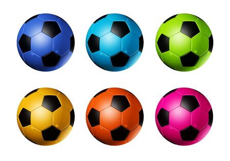 colored 3D soccer balls isolated on white - world football cup 2010 photo