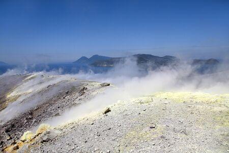 vulcano: Vulcano volcano crater in Aeolian Islands, Sicily, Italy Stock Photo