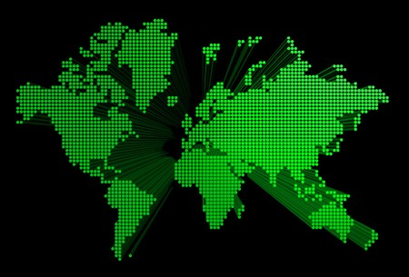 three dimensional green spotted world map isolated on black background photo
