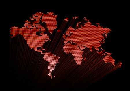 three dimensional red spotted world map isolated on black background photo