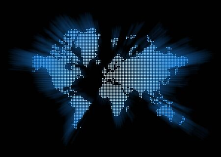 spotted world map isolated on black background Stock Photo