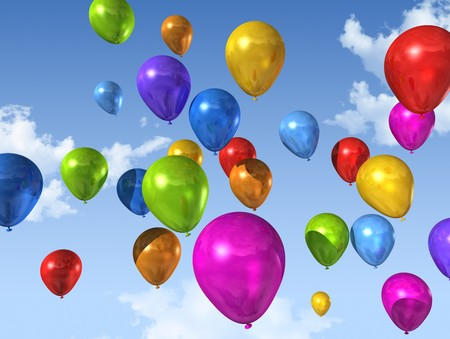 colored air balloons floating on a blue sky Stock Photo - 7402364