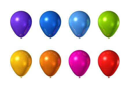 colored play: colored balloons isolated on a white background Stock Photo