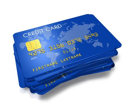 stack of blue credit cards with worldmap print isolated on white