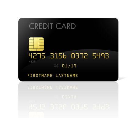 carta credito: carta di credito nera isolata on white con tracciato di ritaglio  Archivio Fotografico