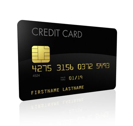 plastic money: black credit card isolated on white