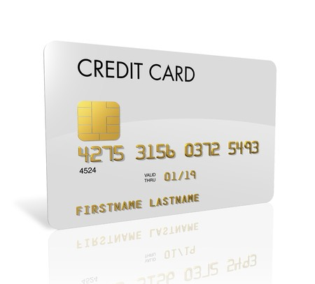 credit card debt: White credit card isolated on white with clipping path Stock Photo
