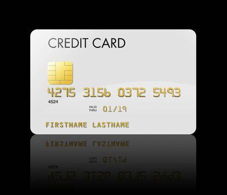 carta credito: Isolato su nero bianca carta di credito