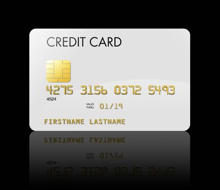 credit card debt: White credit card isolated on black