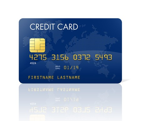credit card debt: Blue credit card with world map  Stock Photo