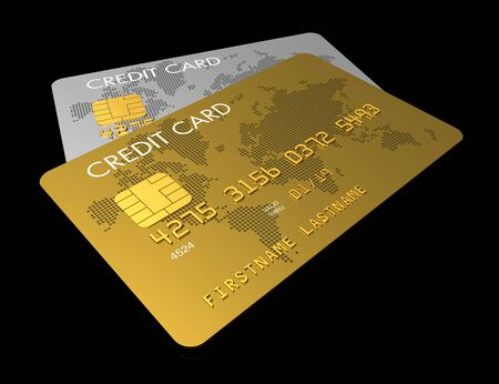 credit card debt: Gold and silver credit card isolated on black