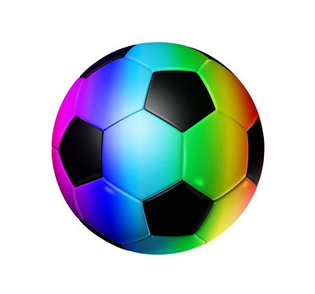 three colored: 3D rainbow soccer ball isolated on white Stock Photo
