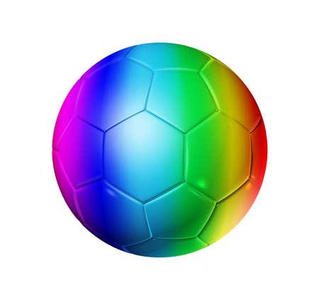 3D rainbow soccer ball isolated on white photo