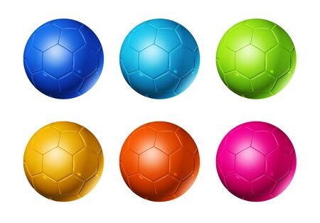 colored 3D soccer balls isolated on white photo