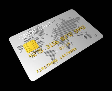 credit card debt: silver credit card isolated on black