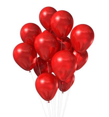 ballons: Ballons � air rouge 3D flottant isol� sur blanc