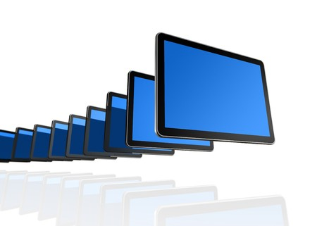 many 3D TV, computer screens isolated on white photo