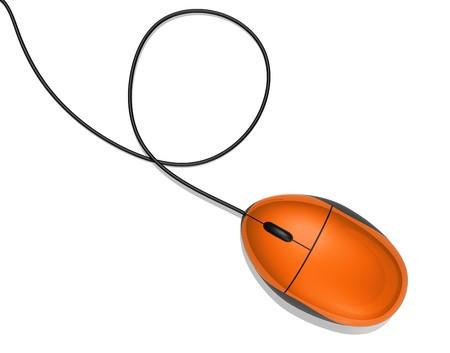 klik: 3D oranje computer muis geïsoleerd op wit