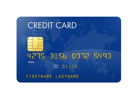 credit card debt: Blue credit card with world map - isolated on white