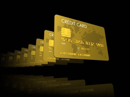 Gold credit cards serie, 3D render isolated on black Stock Photo - 8022636