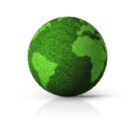 grass earth globe isolated on white - 3D ecology symbol photo