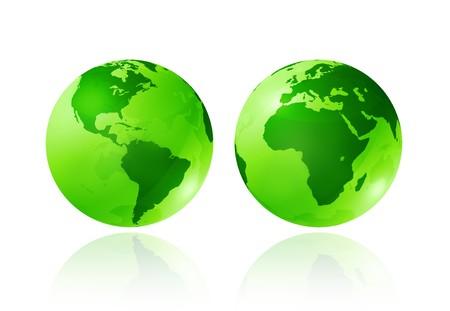 planisphere: due globi di verde terra trasparente su sfondo bianco - illustrazione dimensionale tre - simbolo di ecologia