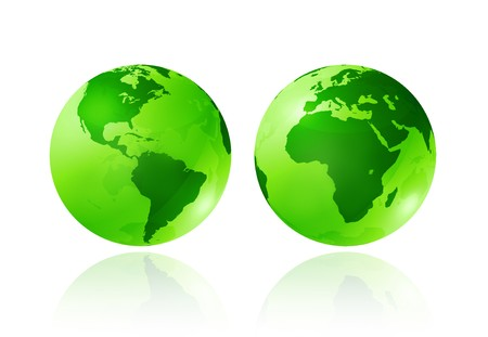 planisphere: two green transparent earth globes on white background - three dimensional illustration - ecology symbol