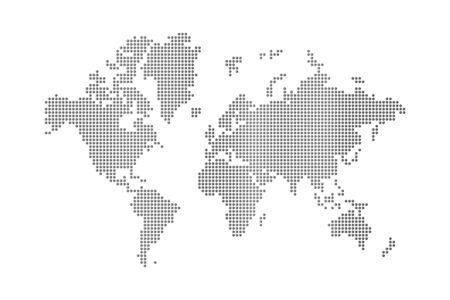 Carte du monde points sur fond blanc