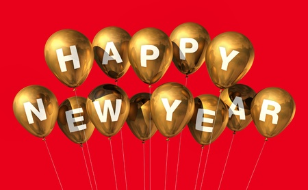 gold Happy new year balloons isolated on red photo