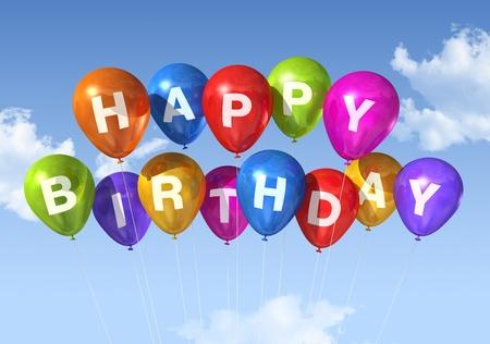 ballons: ballons color�s de Joyeux anniversaire dans le ciel