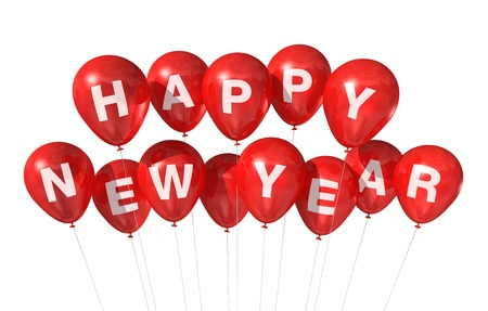 red Happy new year balloons isolated on white Stock Photo - 8418391