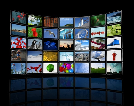 3D panel  Wall of flat tv screens, including images, isolated on black. With 2 clipping paths : global scene clipping path and screens clipping path.