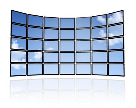 3D sky Wall of flat tv screens, isolated on white. With 2 clipping paths : global scene clipping path and screens clipping path to place your designs or pictures Stock Photo - 8418394