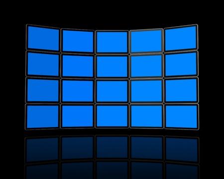 Panel 3D / pared de pantallas planas de televisión, aisladas en negro. Con trazados de recorte de 2: trazado de recorte de la escena mundial y pantallas de ruta de acceso para colocar sus diseños o imágenes de recorte.