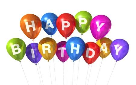 auguri di buon compleanno: 3D colorato Happy Birthday palloncini isolati su sfondo bianco Archivio Fotografico