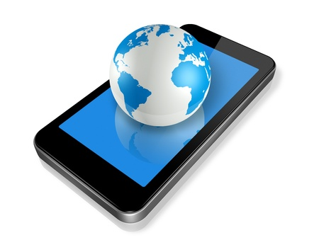 three dimensional mobile phone and world globe isolated  photo