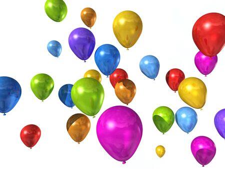 ballons: ballons color�s isol�es sur un fond blanc