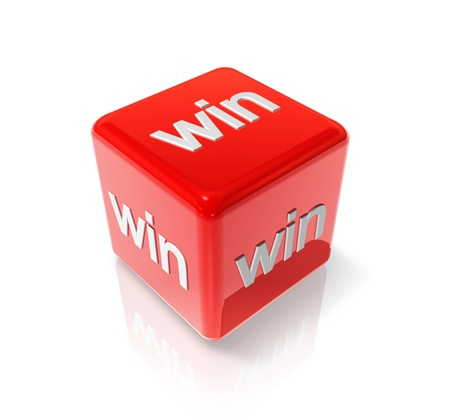 3D red dice with win text on all sides