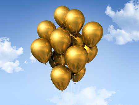 gold string: gold air balloons floating on a blue sky Stock Photo
